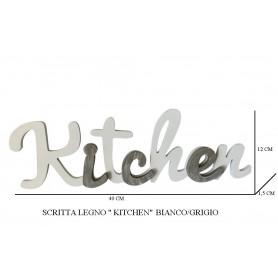 SCRITTA LEGNO KITCHEN BIANCO/GRIGIO