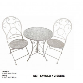 SET TAVOLO+2 SEDIE FERRO CREMA
