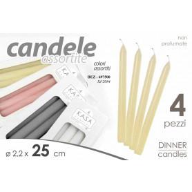 CONF 4 CANDELE DIA.2,2XH25CM